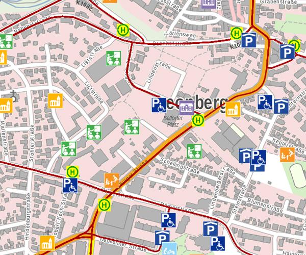 LeoMaps: Was ist wo - Stadtplan - Bereich Leonberg