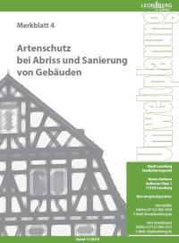 Merkblatt 1 - Artenschutz bei Abriss und Sanierung von Gebäuden