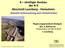 Ausbau A8 - Aktuelle Untersuchung zum Verkehrslärm